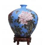 孔雀兰紫砂小口天球牡丹瓶 净高:50公分 直径:48公分