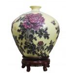 黄金段紫砂小口天球牡丹瓶 净高:50公
